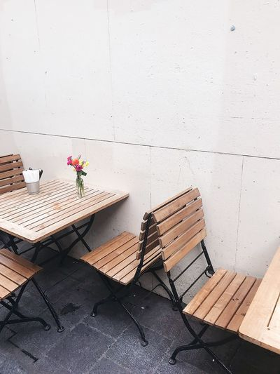 High angle view of potted plants on table against wall