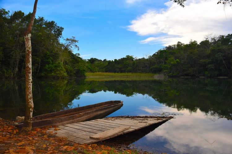 Off of Hwy 307 heading to Palenque, MX. Boat Calm Chiapas Distant Geometry Horizontal Symmetry Lake Lakeshore Outdoors Quiet Reflection Rippled Scenics Standing Water Symmetry Tranquil Scene Tranquility Tree Trip Tropical Climate Water Waterfront