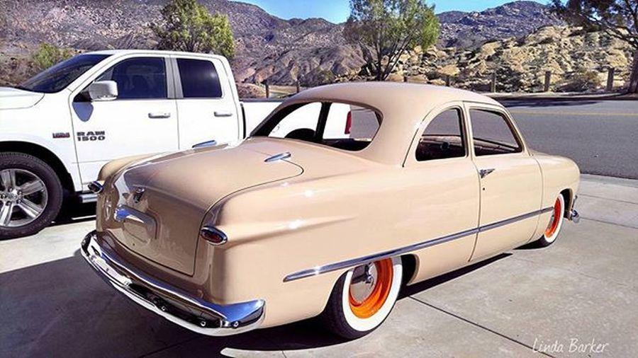 "(4 of 4) Got my 1950ford Shoebox (aka ""Bettie Beige"") across the street for photos b4 the rain, a few driveway & garage shots too... Ford Shoeboxford Bettiebeige Homesweethome"