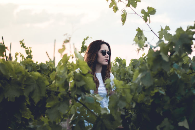 Roots. Tree Portrait Headshot Young Women Looking At Camera Sky Close-up Plant Agricultural Field Cultivated Land Plantation Thoughtful Vineyard