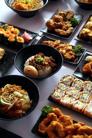 High angle view of food served on table