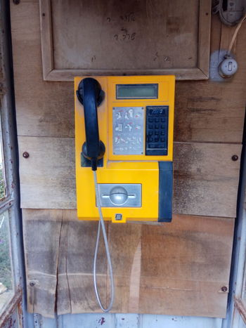 Communication Technology Old-fashioned Connection Telephone Yellow Telephone Receiver