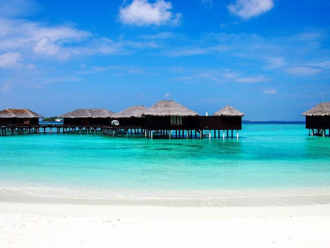 Sea Beach Tranquil Scene Blue Nature Beauty In Nature Tranquility Sky Scenics Outdoors Thatched Roof Idyllic Water Day Vacations Architecture No People Built Structure Holiday Villa Maldives