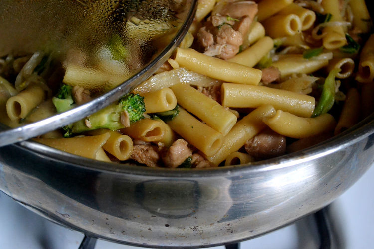 Close-up of pasta in cooking pan