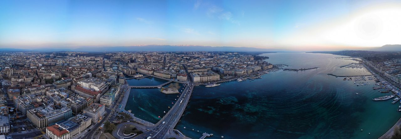 Panoramic shot of Lake Geneva DJI X Eyeem DJI Mavic Air Drone Photograph Swiss Lac Léman Lake Geneva Aerial City Architecture Building Exterior Built Structure Cityscape Sky Nature No People Water Building Travel Destinations Cloud - Sky Outdoors Office Building Exterior Scenics - Nature High Angle View Aerial View Blue Skyscraper
