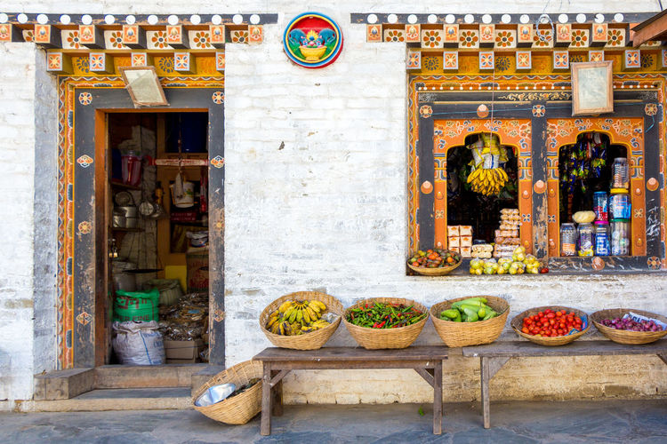 ASIA Travel Architecture Bhutan Building Building Exterior Built Structure Day Food Food And Drink Freshness Healthy Eating Market Nature No People Retail  Store Storefront Tourism Travel Travel Destinations Wall - Building Feature