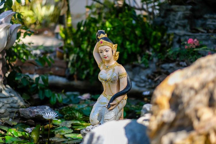 Buddha statue against plants
