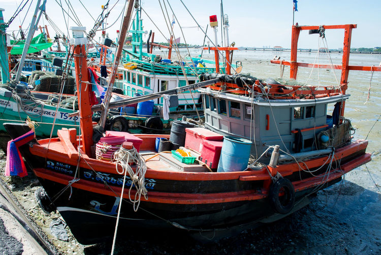 Fishing boat Boat Country Day Fish Fisherman Boat Harbor Mode Of Transport Moored Nature Nautical Vessel No People Outdoors Port Sea Ship Sky Thailand Transportation Water