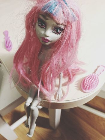 Looking At Camera Portrait Indoors  Childhood Pink Color Pink Pink Hair Millennial Pink Doll Monsterhigh Long Hair Brush