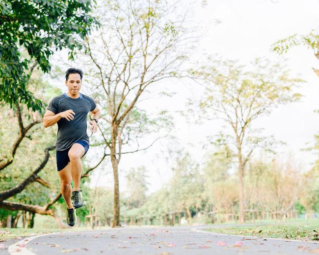 Full length of man running in park