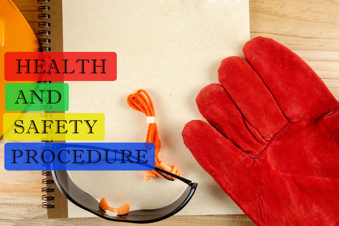 HEALTH AND SAFETY PROCEDURE CONCEPT Office Accident Banner Close-up Day Health Indoors  Procedures Safety First Safety Helmet Text