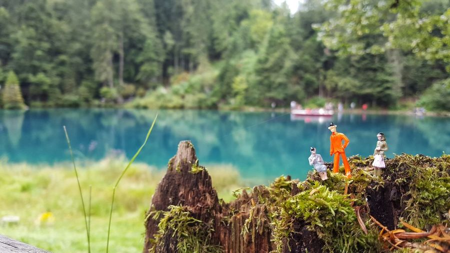 Figurines against the lake