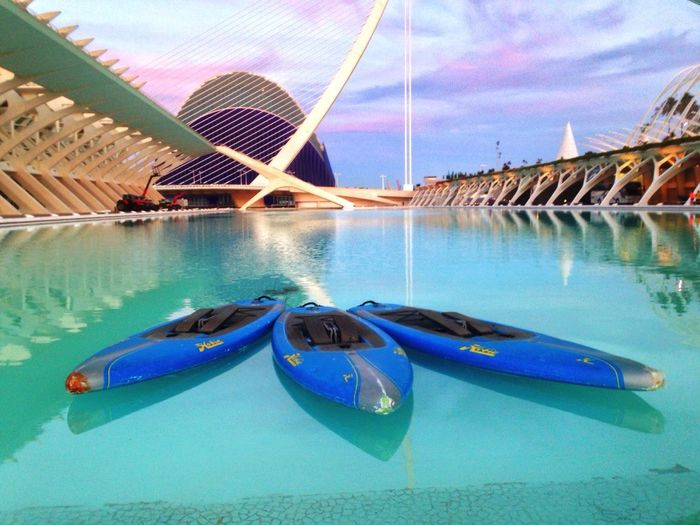 Canoes floating in a pool in Valencia, Spain. Water Transportation Blue Reflection Outdoors Sky Canoes València