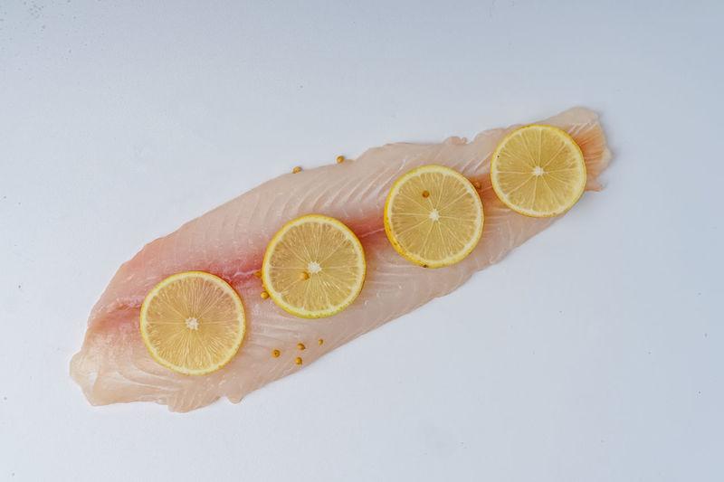 High angle view of lemon slice on table