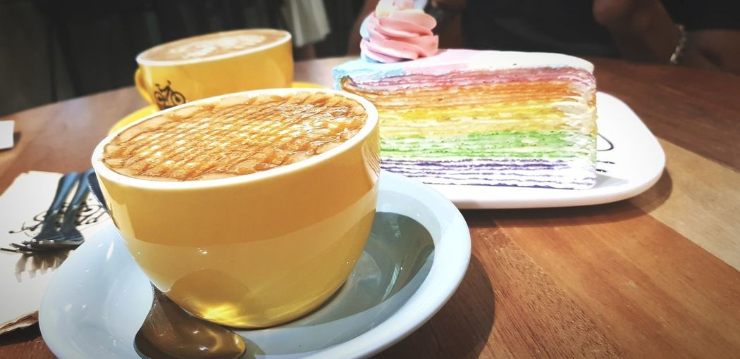 rainbow mille crepe cake Mille Crepe Human Hand Drink Occupation Business Finance And Industry Men Close-up Sweet Food Food And Drink