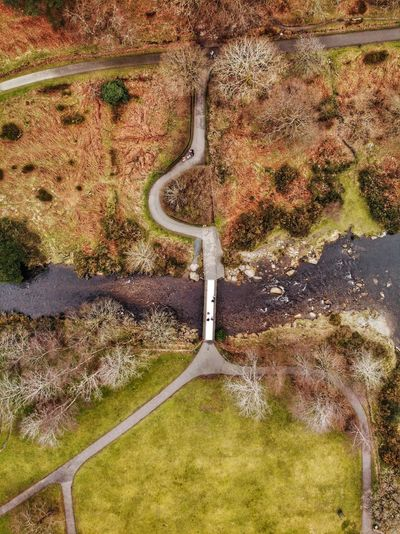 The bridge near Visitor Center, Ireland 🇮🇪 2019 Ancient DJI Mavic Air DJI X Eyeem Drone Photograph Ireland Glendalough Day High Angle View No People Nature Landscape Beauty In Nature Environment Growth Green Color Land Pattern Sunlight Scenics - Nature Tranquil Scene Field Agriculture Outdoors Tranquility Plant Aerial View