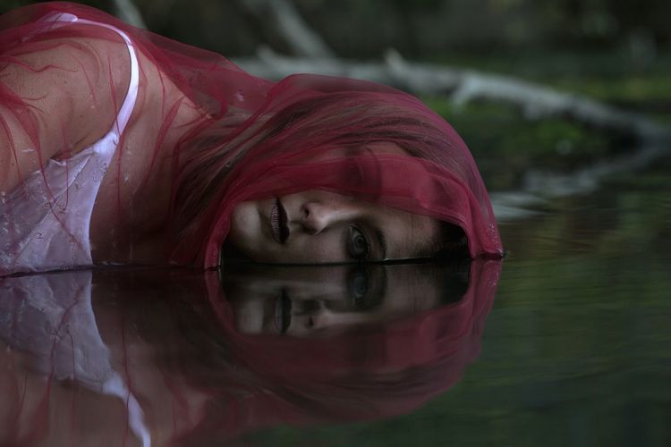Reflection Water Red Adult One Woman Only Headshot Nature Autumn Close-up Stansbury Lake Cold Temperature Autumn Fall