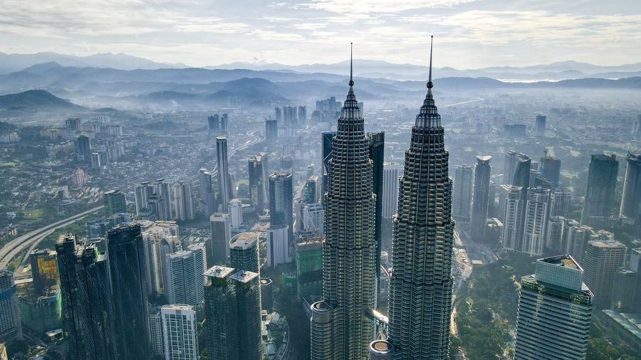 Aerial view sunrise of klcc tower kuala lumpur city centre
