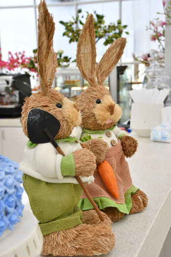 Rabbit fabricated from straw Animal Animal Representation Art And Craft Celebration Close-up Creativity Decoration Easter Easter Bunny Holiday Indoors  Mammal No People Rabbit - Animal Representation Still Life Stuffed Toy Toy Toy Animal
