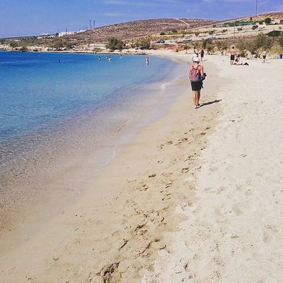 KRIOS BEACH, PAROS. @VEMFARD IS WALKING. Krios Kriosbeach Paros Paro Greece2015 Greecestagram Cyclades_islands Cyclades Summertime Enjoy Sea Sand Blue Walk Enjoy Blue Parikia Parikiaparos Bicicladi