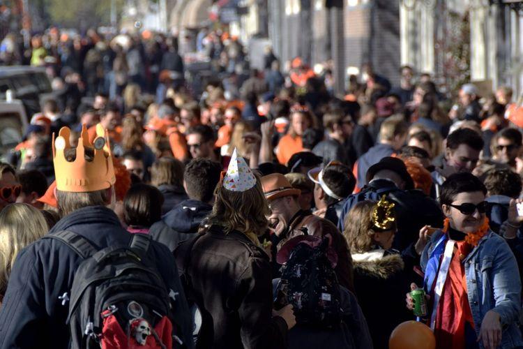 Crowd Celebrating King Day On Street