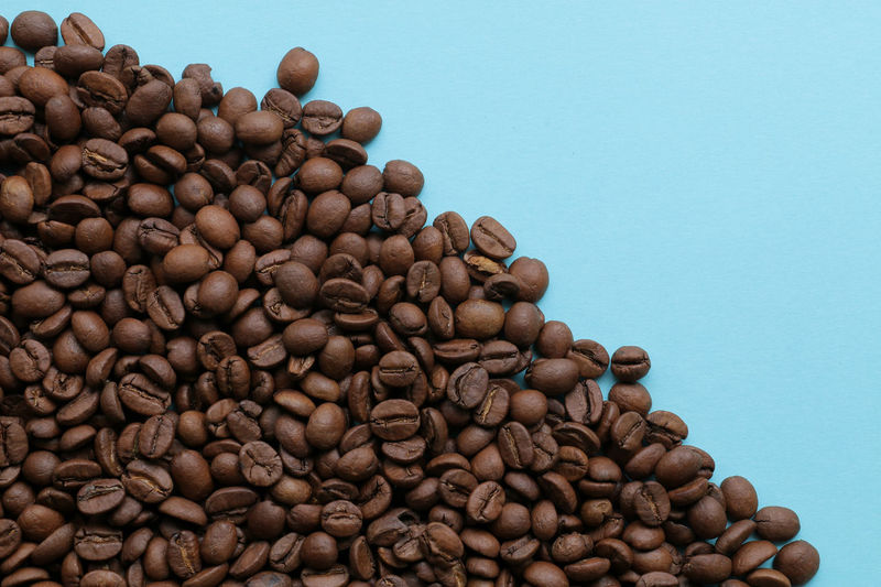 fresh coffee beans on blue background Autumn EyeEm Nature Lover EyeEmNewHere Japan Japanese  Brown Close-up Coffee Bean Food Food And Drink Freshness Group Of Objects Harvest Indoors  Large Group Of Objects No People Raw Coffee Bean Roasted Coffee Bean Studio Shot