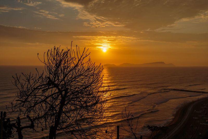 Orange sunset peru Sunset Sky Beauty In Nature Scenics - Nature Plant Tranquility Cloud - Sky Tranquil Scene Orange Color Nature Idyllic Outdoors Sunlight No People Sun Growth Tree Water Silhouette Sea