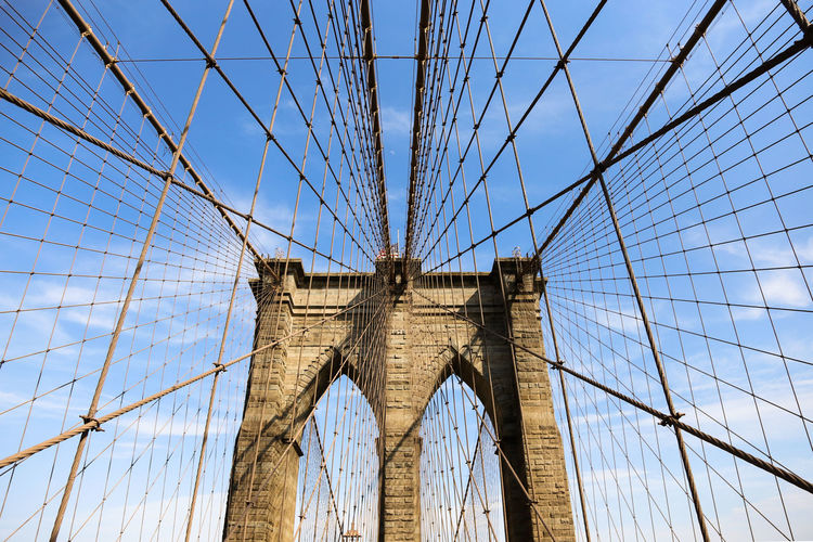 Brooklyn Bridge on a very sunny day Architecture Bridge Brooklyn Brooklyn Bridge / New York Built Structure Low Angle View New York New York City Outdoors Beautifully Organized