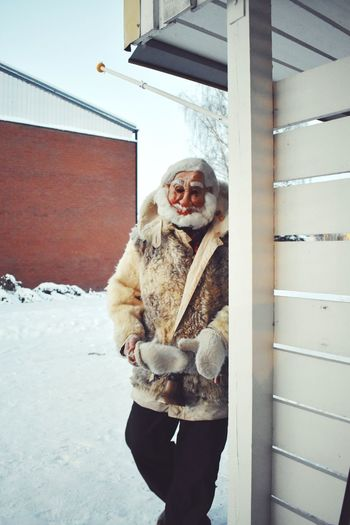 🎅🏻👶🏼 Christmas Fur Beard Father Christmas Santa Claus Winter Cold Temperature Snow One Person Warm Clothing Standing Three Quarter Length Real People Clothing Front View Leisure Activity Day Lifestyles