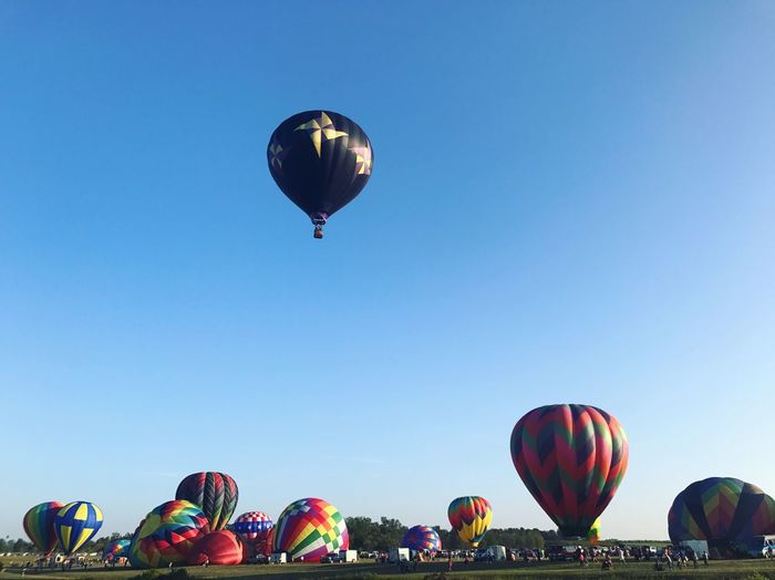 Hot Air Balloon Mid-air Clear Sky Ballooning Festival Multi Colored Celebration Flying Balloon Day