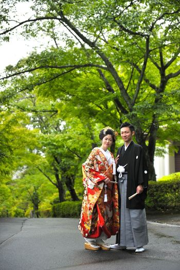 Japan Japan Photography Wedding Adult Clothing Couple - Relationship Emotion Females Full Length Heterosexual Couple Looking At Camera Love Men Nature Outdoors Plant Positive Emotion Standing Togetherness Traditional Clothing Tree Two People Wife Women Young Adult