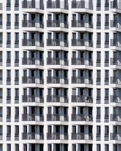 Architecture Building Exterior Built Structure Full Frame Window Building Day No People Backgrounds Pattern Residential District City Repetition In A Row Outdoors Apartment White Color Side By Side Low Angle View Balcony Building Feature