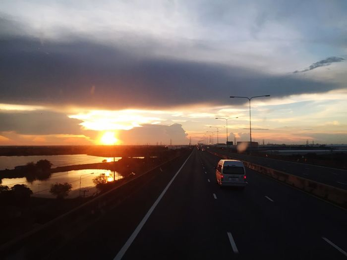 See you Comehome Sun Transportation Road Sky Sunset Mode Of Transportation Cloud - Sky Car No People Nature Highway Direction The Way Forward