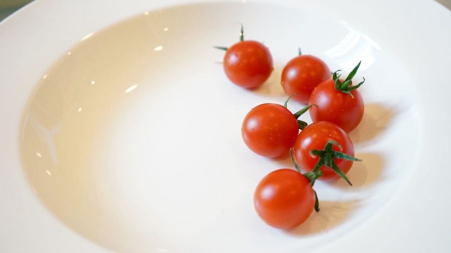 Red tomato on white plate Tomato Food Food And Drink Vegetable Fruit Plate Healthy Eating Still Life Indoors  Directly Above No People White Color Freshness Red High Angle View Wellbeing Cherry Tomato Raw Food Close-up Table