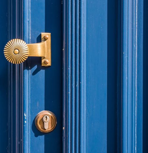 Türgriff Blue Full Frame Door Directly Above Close-up Doorknob Front Door Closed Door Entryway Entrance