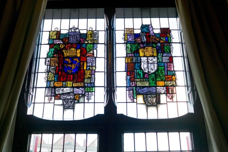 Low Angle View Multi Colored Window Built Structure Architecture Indoors  Day No People Sky Stained Glass City Townhall Holland Gouda Historical Building The Netherlands Old Town Light Windows Monument Pattern