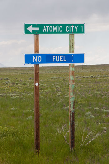 Atomic City, Idaho - the irony of no fuel ;) America Americana Atomic City Communication Fuel Guidance Highway Information Information Sign Journey Non-urban Scene Outdoors Remote Road Sign Roadside Roadside America Rural Rural Scene Sign Sign Signboard United States USA