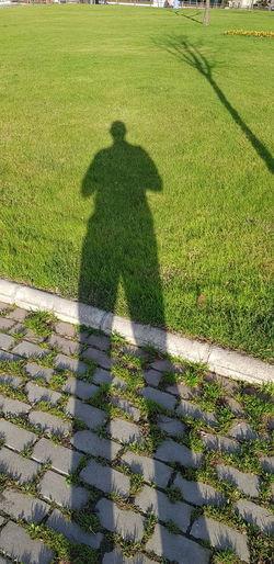 Shadow of man on grassy field