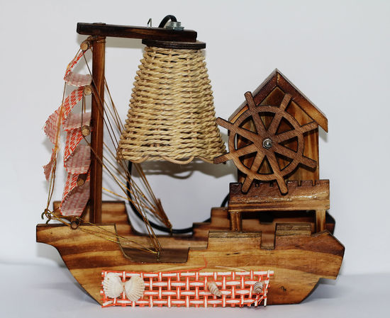 A Beautiful Wooden Table Lamp Design Of Boat Wooden Table Lamp Basket Close-up Day Indoors  No People White Background Wooden Boats Wooden Toys Woods