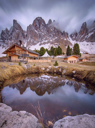 Heaven on Earth 💙 Mountain Landscape Reflection Lake Mountain Range Rock - Object Scenics Outdoors Travel Nature No People Water Beauty In Nature Sky Dolomites Beauty In Nature Dolomites, Italy Val Di Funes Odle Travel Destinations Alto Adige Cold Temperature