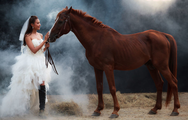 Bride Wearing Wedding Dress Stroking Horse While Standing At Farm