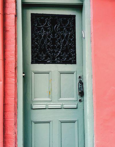 Closed door of a building