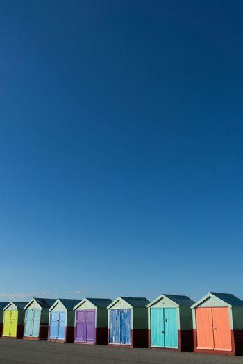 Beach huts two Beach Huts Seaside Blue Sky Colours Hut Beach