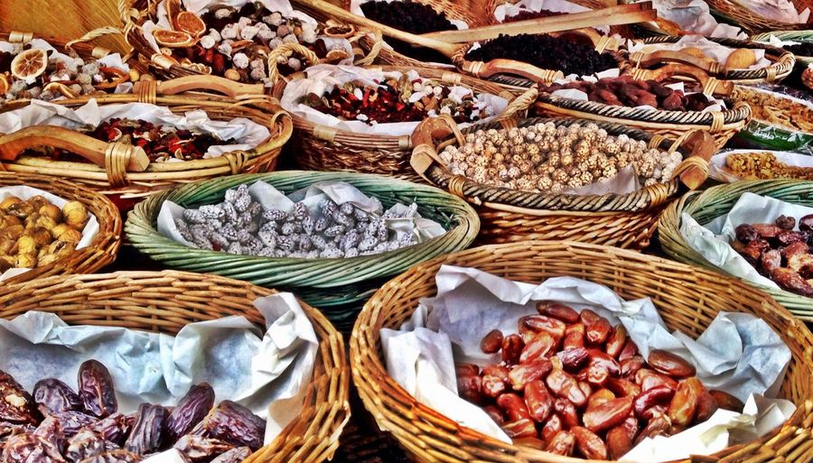 Detail shot of dry fruits for sale