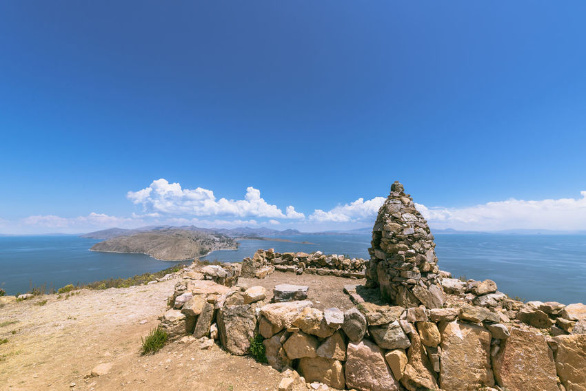 trekking at Titicaca Lake, Isla del Sol, Comunidad Yumani, view on bolivian Side Bolivia Boundary Cloud - Sky Clouds And Sky Colour Comunidad Cultura La La Paz Landscape Landscape_Collection Landscape_photography Memorial Precolombian Rocks Stone Sunny Sunny Day Sunnyday Titicaca Titicaca Lake Travel Travel Destinations Water Yumani