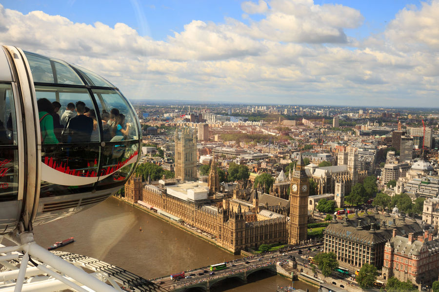 View over London inc. houses of parliament and Big Ben from the London Eye Aerial View Architecture Built Structure Capital Cities  City City Life Cityscape Cloud - Sky Cloudy Day Elevated View Horizon Over Land London London Eye Outdoors Tourism Travel Destinations