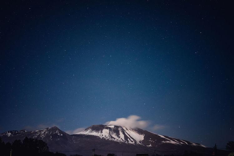Idyllic shot of mount asama against constellation