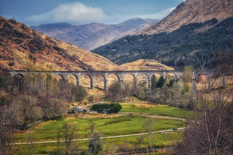 Glenfinnan 1901 railway viaduct with a curving, 21-arch span, featured in several Harry Potter movies. Malephotographerofthemonth Scotland Scotland Highlands Highlands Of Scotland Viaduct Train Tracks Harry Potter Glenfinnan Viaduct Glenfinnan Viaduct Trail Mountain Tree Agriculture Rural Scene Field Sky Mountain Range Cloud - Sky Landscape Overpass
