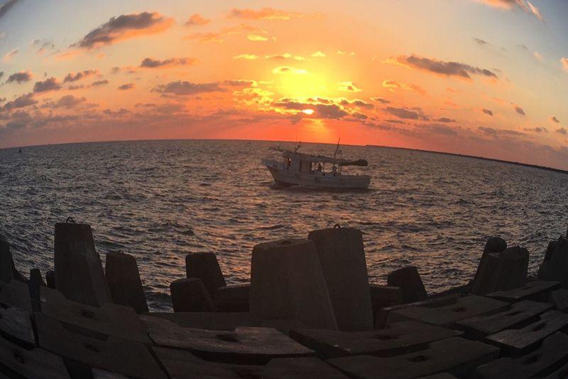 Ras Elbar in egypt Sunset Sea Water Nature Sky Boats⛵️ Sun First Eyeem Photo