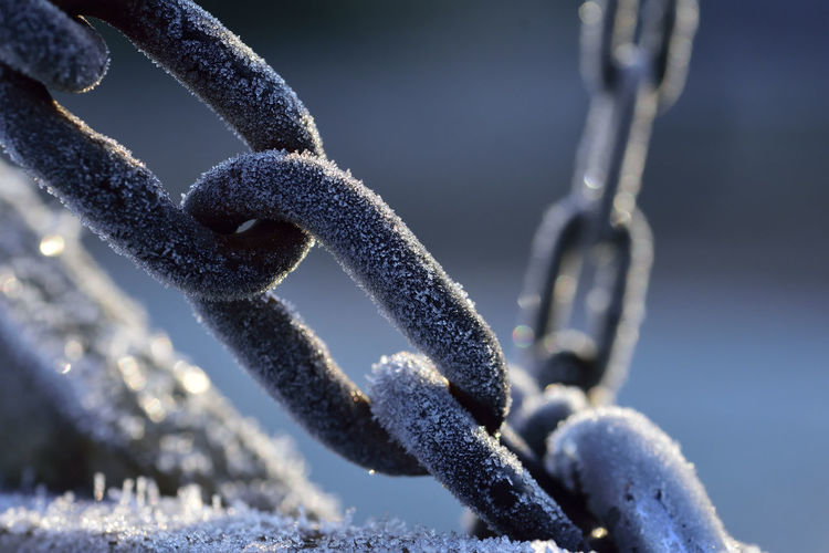 Close-Up Of Frost On Chain